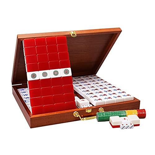LYLY Juego chino de Mahjong tamaño completo – con 146 azulejos de tamaño mediano, 3 dados y un indicador de viento – para juego de estilo chino