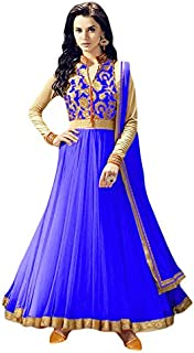Rahi Fashion Women's Royal Blue Net Anarkali Embroidered Semi-stitched Salwar Suit Dupatta Material
