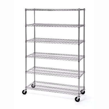 Seville Classics UltraDurable Commercial-Grade 6-Tier Steel Wire Shelving with Wheels, 48  W x 18  D x 72  H, NSF-Certified