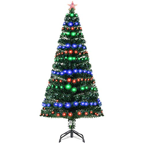 HOMCOM 6FT Tall Artificial Tree Multi-Colored Fiber Optic LED Pre-Lit Holiday Home Christmas Decoration, Green
