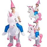 ZANZAN - Cosas de Halloween para hombre, adulto o niño, hinchable, unicornio, disfraz de Halloween, fiesta de disfraces, hinchable, unicornio blanco (tamaño grande)