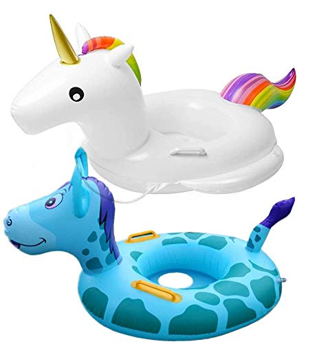 WENTS Baby Schwimmring Aufblasbarer Einhorn Aufblasbare Luftmatratze mit 2 Haltegriffe, PVC Schwimmen Floß Super Spaß für Kinder - lustiges Must-Have am Strand und im Schwimmbad (Einhorn, Esel)