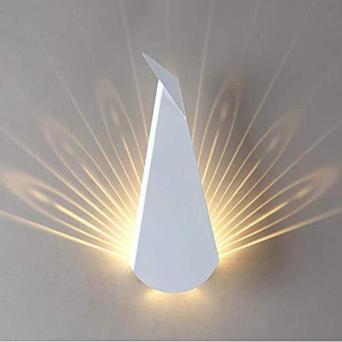 Wandlamp bedlampje LED metalen lampen Peacock licht en schaduw effecten Art Deco lamp kwekerij muur licht decoratieve verlichting lamp 's nachts het licht,White