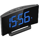Digital Alarm Clocks Bedside Mains Powered, Led Clock with Big Blue Digital Display, 10 Brightness Dimmer, Optional Alarm Sounds and 3 Level Volume, Snooze Function, 12/24 Hours
