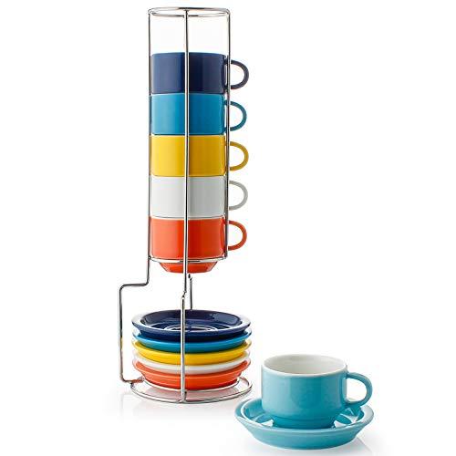 Sweese 404.002 6-teilig Stapelbare Espressotassen Set aus Porzellan, Kaffeetassen mit Untertasse und Metall Ständer, Bunte Serie, 75 ml