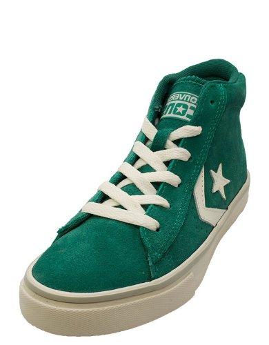 Converse Pro Leather Vulc Mid Suede unisex bambino, pelle scamosciata, sneaker alta, Emerald Green/ Off White, 28