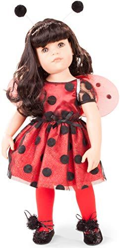 Gotz 1859088 Hannah Ladybug - Muñeca de pie (50 cm, Pelo Largo Negro y Ojos Grises)