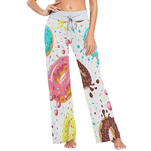 Pantalones de Pijama para Mujer Pantalones de Dormir Pantalones Largos atléticos de Pierna Ancha Delicious Donuts Seamless
