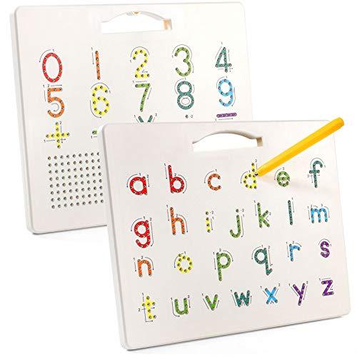 Tavolo da Disegno Magnetico Doppia Faccia Lavagna Magnetica con la Penna da Disegno Alfabeto ABC Tablet Magico Educativo Gioco Magnetico per Bambini Piccoli (Lettere minuscole e Numero)