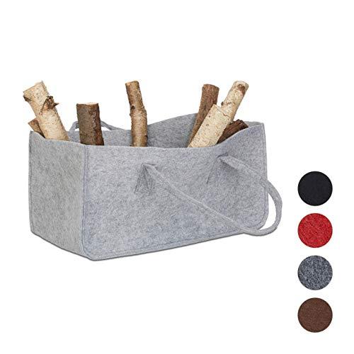 Relax Days haardhouttas van vilt, draagbare mand voor brandhout, opvouwbare krantenhouder HxBxD: 25 x 25 x 50 cm, grijs
