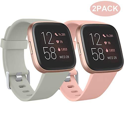 Ouwegaga Kompatibel für Fitbit Versa Armband/Fitbit Versa 2 Armband, Weiches Silikon Ersatz Armband Kompatibel mit Fitbit Versa Lite Armband, Damen Herren Groß, Grau/Rosa