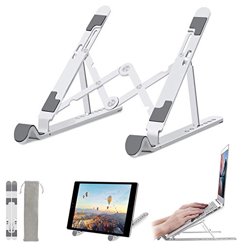 "Laptop Stand, Foldable Portable Aluminum Computer Stand Tablet Stand, Ergonomic 7 Levels Adjustable Height Laptop Holder Compatible with MacBook, Dell, HP, Lenovo More 10-15.6"" Laptops - Silver"