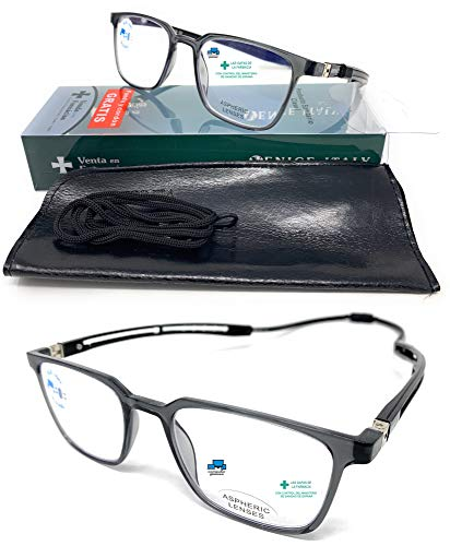 New Model Gafas de TR90 con filtro bloqueo luz azul Extensibles y magnéticas para gaming, ordenador, móvil y trabajo. Anti fatiga IMAN Professional unisex Venice (Negro Sin graduación)