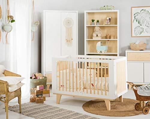 123home24.com Komplettset Kinderzimmer Sternchen 4-teilig Babybett Kommode Schrank Regal im...