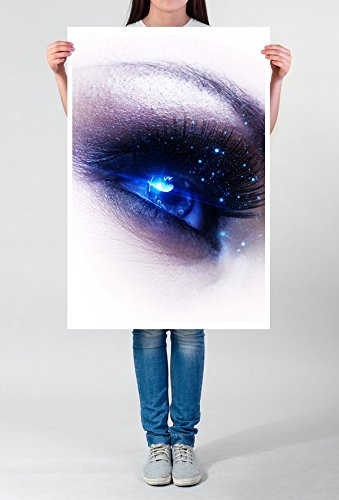 Best for home Artprints - artistieke fotografie - menselijk oog met sterrenstof - fotodruk in haarscherpe kwaliteit POSTER 90x60cm