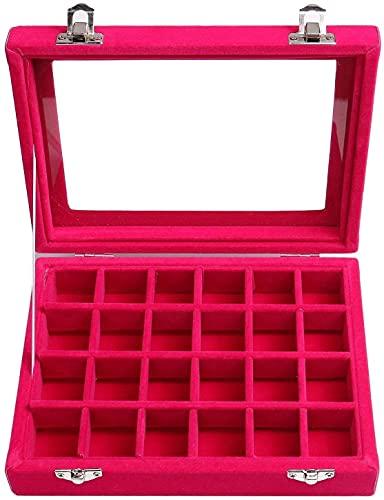 Estuche de joyas para mujer, 24 compartimentos, soporte para anillos, pendientes, collares, pulseras, joyero (color rosa)