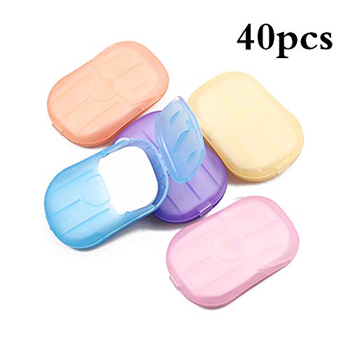 AEF 40 Boxen Mini Reisen Tragbare Papier-Seife Seifescheiben Einweg Seife Mit Kunststoffbox Für Unterwegs