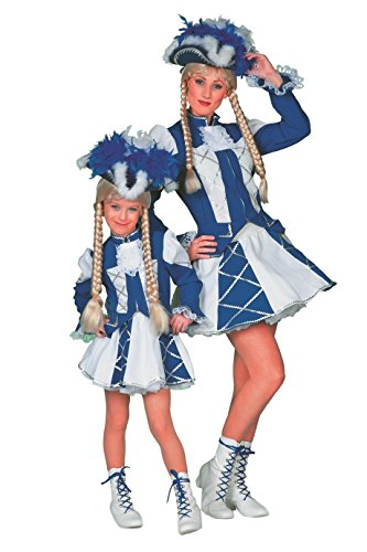 The Fantasy Tailors Tanzmariechen Kostüm Kinder Mädchen Blau Weiß (ohne Hut) Tanzgarde Komitee Kleid Showtanz Karneval Fasching Hochwertige Verkleidung Größe 128 Blau/Weiß