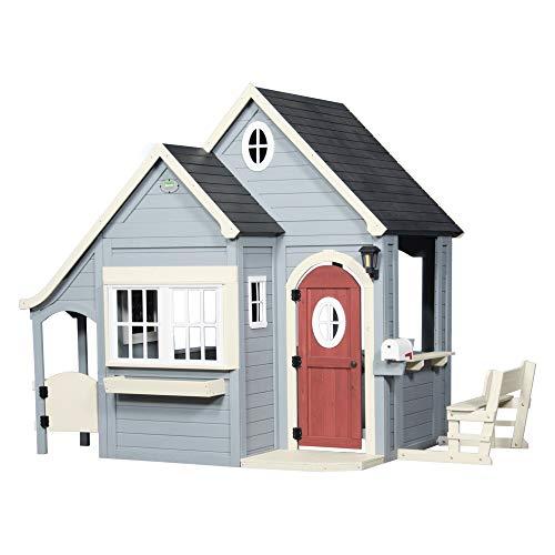 Backyard Discovery Spielhaus Spring Cottage aus Holz| Outdoor Kinderspielhaus für den Garten inklusive Zubehör | Gartenhaus für Kinder mit Fenstern in Grau & Schwarz