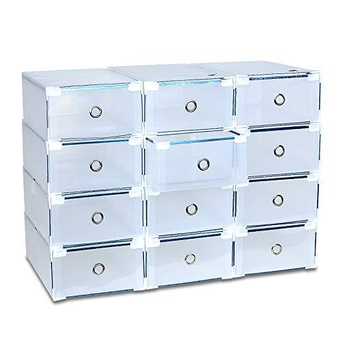LENTIA Schuhbox transparent aus Polypropylen 12XSchuhkartons (milchweiß)