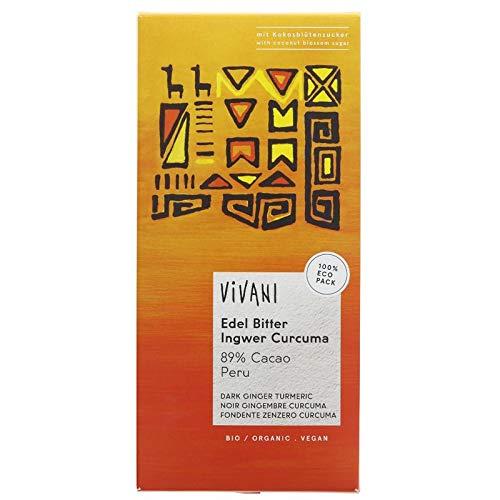 Vivani Organic Chocolate Jengibre oscuro y Chocolate de cúrcumao 80g | Sin lactosa | vegano (Pack de 6)