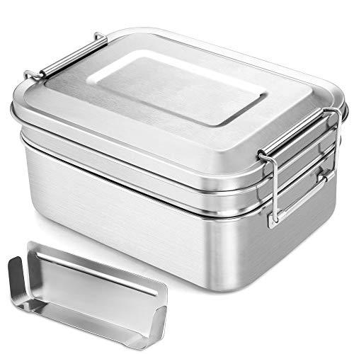Fiambrera de acero inoxidable con divisor, 2000 ml, de Adkwse, grande, con 2 compartimentos, a prueba de fugas, para el desayuno, para adultos, niños, oficina y excursiones, sin BPA