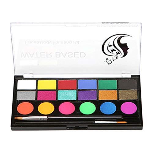 oshhni Body Paints Face Painting 18 Colors Palette Non-Toxic Kids Adults Makeup Palette