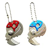 Creative Coin-shape Mini EDC Stainless Steel Folding Pocket Keychain Knife With Keychain Shaped Folding Pocket Knife With Hanging Chain for Camping Outdoor Survival Emergency (Blue,Red)