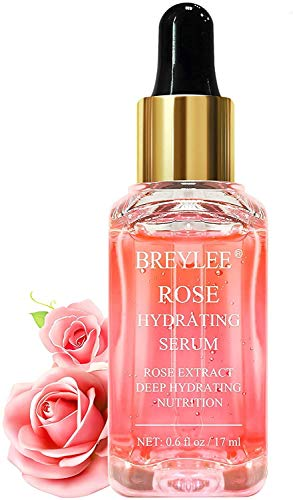 BREYLEE Rose Deep Hydration Face Serum, Moisturizing Serum Rose Essence with Rose Petals Extract Hyaluronic Acid Trehalose B5 Vitamin Alcohol Free Facial Skin Care(17ml,0.6fl oz)