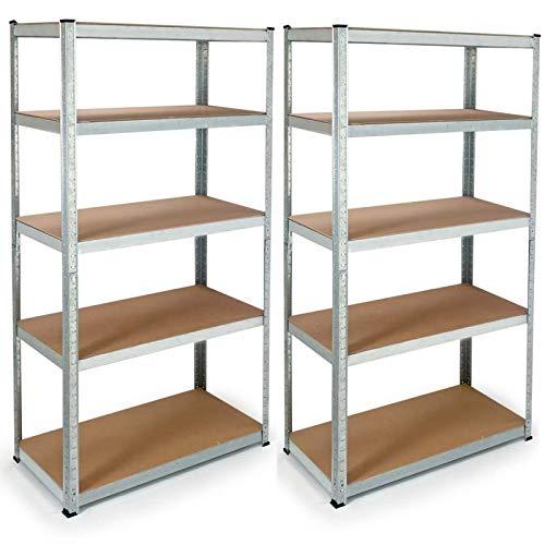 IDMarket - Lot de 2 étagères modulables charges lourdes H. 180 CM 10 plateaux