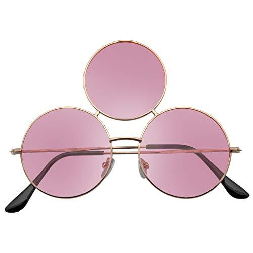 Emblem Eyewear - Dritte Auge Sonnenbrille Verdreifachen Runden Kreis Sonnenbrille (Rosa)