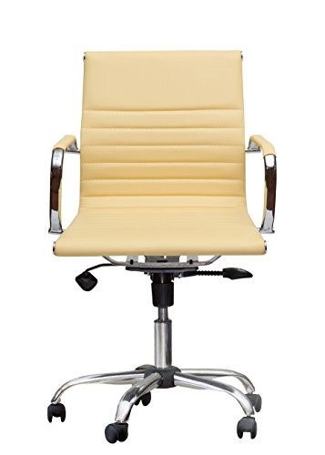 Winport Furniture Mid-Back Executive Leather Armrest Desk Chair, Yellow
