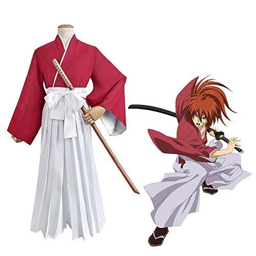 GGOODD Rurouni Kenshin Disfraz De Cosplay Himura Kenshin Kimono Unisex Uniforme De Kendo Top Rojo + Cinturón + Pantalón Blanco Conjunto De 3 Piezas,S