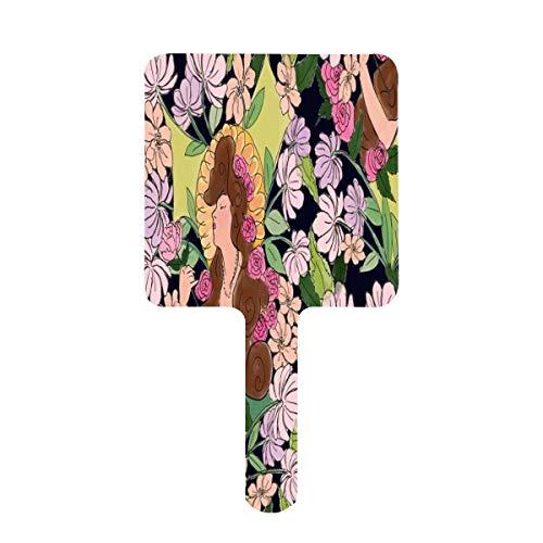 Handspiegel, Jugendstil, florale Göttin, marineblau, schwarz, quadratischer Handspiegel mit Griff, für Schminktisch, Make-up, Zuhause, Salon, Reisen, 9 cm B x 16 cm L