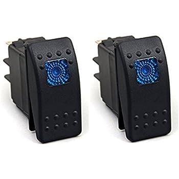 Blau 2 Pcs Qiorange KFZ Auto Offroad Kippschalter Druckschalter Schalter Wippschalter Wasserdicht 12V 20A Blau LED Licht 4Pin AN//AUS