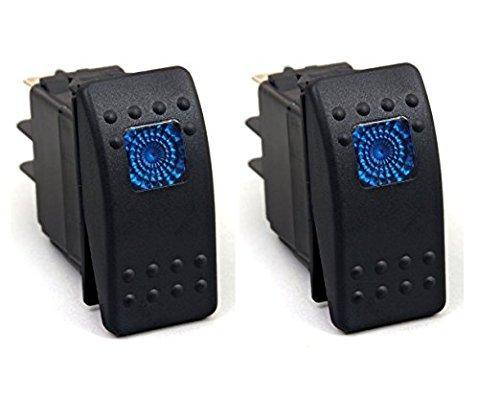 HOTSYSTEM 2 x 12V Wasserdicht Auto KFZ Schalter Wippschalter Ein/Ausschalter LED Beleuchtet Wechsel Switch Kippenschalter Blau