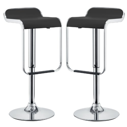 Modway LEM Mid-Century Modern Adjustable Swivel Piston Bar Stool In Black With Faux Leather...