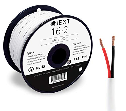 Next 16/2 Speaker Wire - 16 AWG/Gauge 2 Conductor - UL Listed in Wall (CL2/CL3) and Outdoor/In Ground (Direct Burial) Rated - Oxygen-Free Copper (OFC) - 100 Foot Spool - White