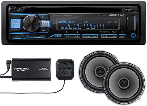 """Alpine CDE-172BT Bluetooth Single Din Receiver with Harness, Sirius XM SXV300 Tuner, and Quinn 6.5"""" Dual Coaxial Car Speakers Pair Bundle. Android Auto and iPhone Apple Car Play Integration."""