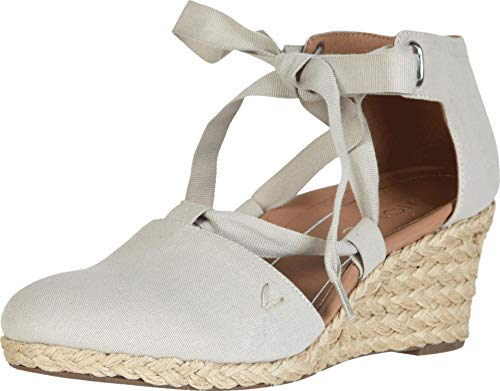 Vionic Women's Aruba Kaitlyn Lace-up Wedge - Ladies Espadrille Wedges with Concealed Orthotic Arch Support Oat 10 W US