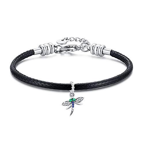 CUOKA MIRACLE Libelle Armband Sterling Silber 925 Mädchen Armband Verstellbar 7+2'' Lederarmband Damen mit Libelle Charm-Anhänger, Geschenk für Damen für Valentinstag/Geburtstag
