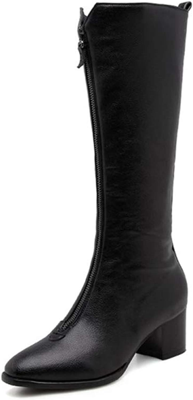 T-JULY Mid Calf Pu Women Boots Square Toe Footwear High Heels Female Boot Zip shoes Woman