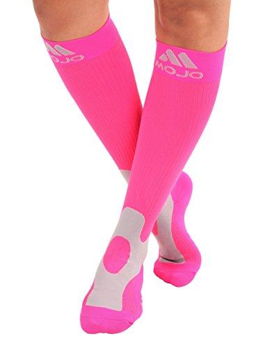2XL Mojo Compression Socks 20-30mmHg Full Calf Compression Stockings Hot PinkSize XXL