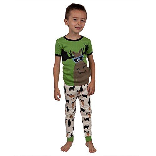 Hatley Cool Moose Juvy Pajama Set - 5 Green