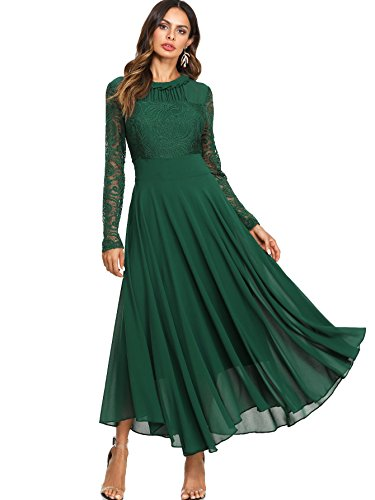 Milumia Women's Vintage Floral Lace Long Sleeve Ruched Neck Flowy Long Dress Green XXL