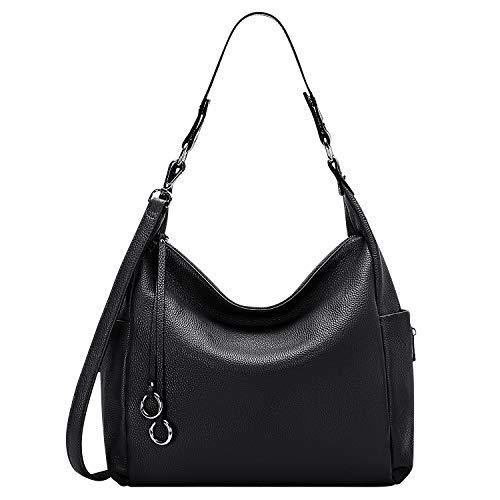 ALTOSY Handtasche Damen Leder Groß Schultertasche Hobo Bag Tasche Umhängetasche Henkeltaschen Tote Bag (A61601, Schwarz)