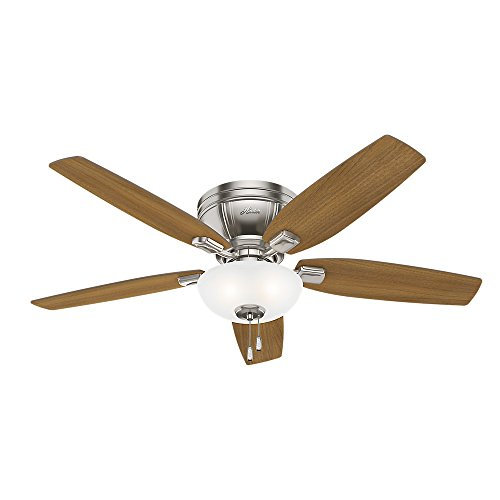 Hunter Fan Company 53380 Flush Mount, 5 American Walnut, Natural Wood Blades Ceiling fan with 38 watts light, Brushed Nickel