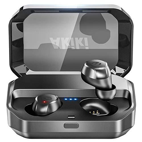 【120時間連続駆動 IPX7完全防水】Bluetooth イヤホン Bluetooth5.0+EDR搭載 ワイヤレスイヤホン 自動ON/OFF ボリューム調節可能 自動ペアリング マイク付き PSE&MSDS&技適認証済み 完全ワイヤレス イヤホン 両耳 左右分離型 二台接続可能 タッチ式 両耳ハンズフリー通話 マイク内蔵 ブルートゥース イヤホン Siri対応 iPhone/iPad/Android適用