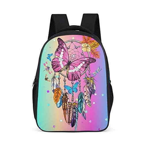 Casual Dreamcatcher mariposa púrpura niños mochila hombro ajustable - mochilas para jardín de infantes