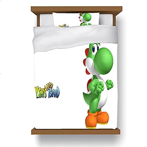 Yoshi - Set di biancheria da letto, copripiumino per giochi anime, in microfibra leggera, morbido e leggero, adatto per la camera da letto (Yoshi-3, 220 x 240 cm + 80 x 80 cm x 2)